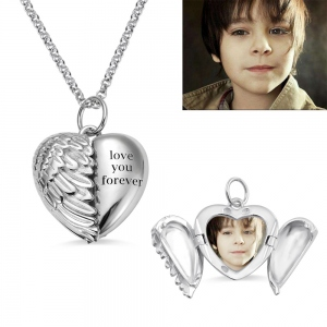 Engravable Angel Wings Heart Photo Necklace in Silver