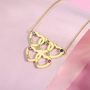 Engraved Five Hearts Necklace With Birthstones In Gold