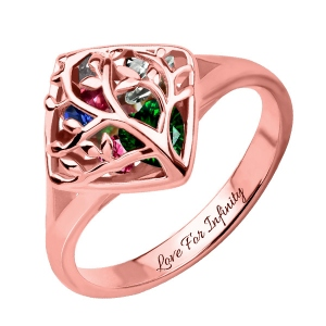 Family Tree Cage Ring With Heart Birthstones In Rose Gold