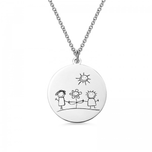 Personalized Graffiti Disc Necklace in Silver